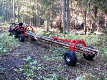 ATV træ hauler med bag support part og elektrisk håndsving