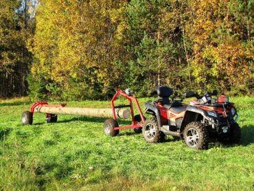 ATV træ hauler med bag support part og manuel håndsving